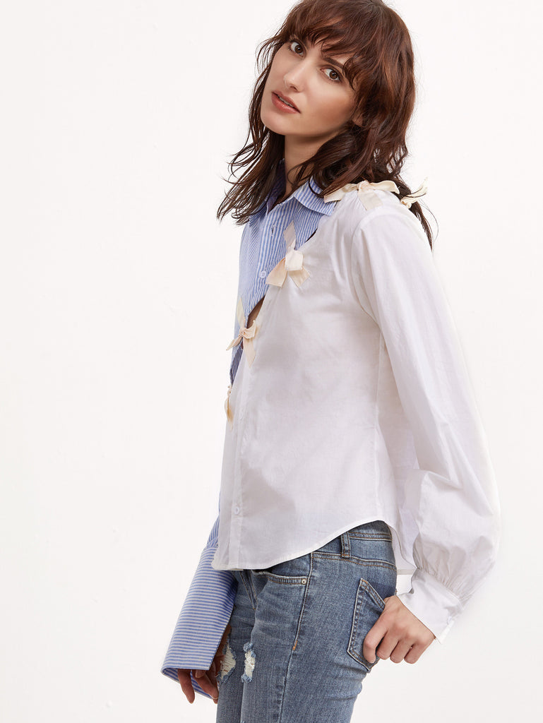 RZX Contrast Bow Detail Split Blouse