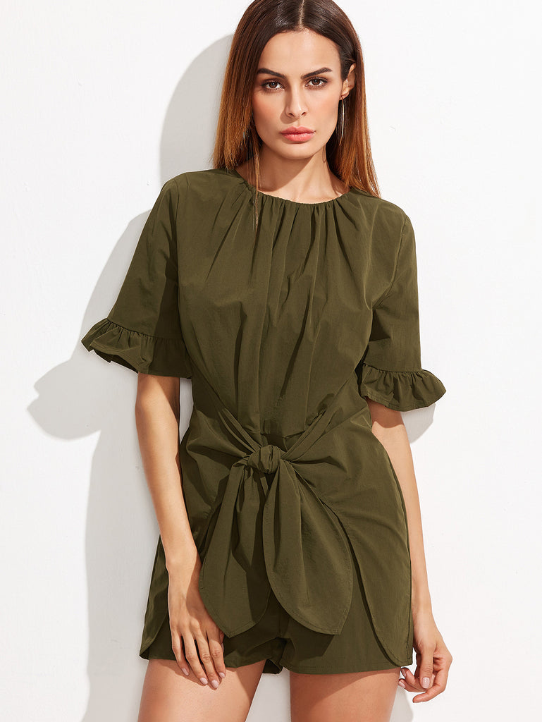 RZX Olive Green Ruffle Sleeve Tie Front Romper