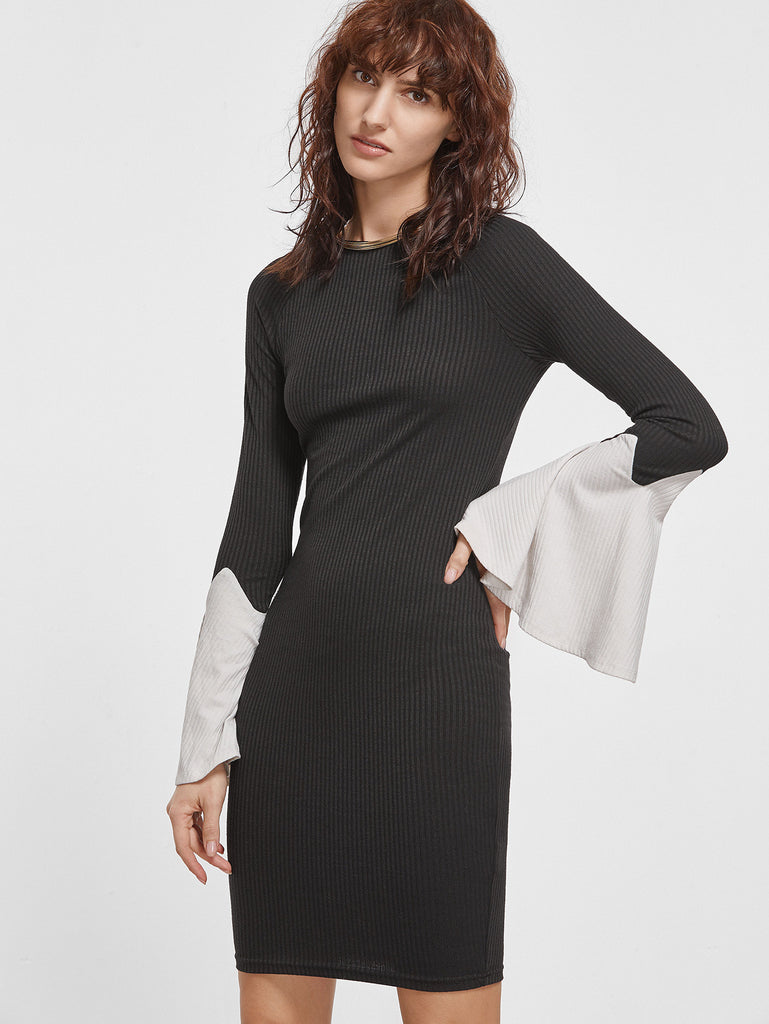 RZX Black Ribbed Knit Contrast Bell Sleeve Bodycon Dress