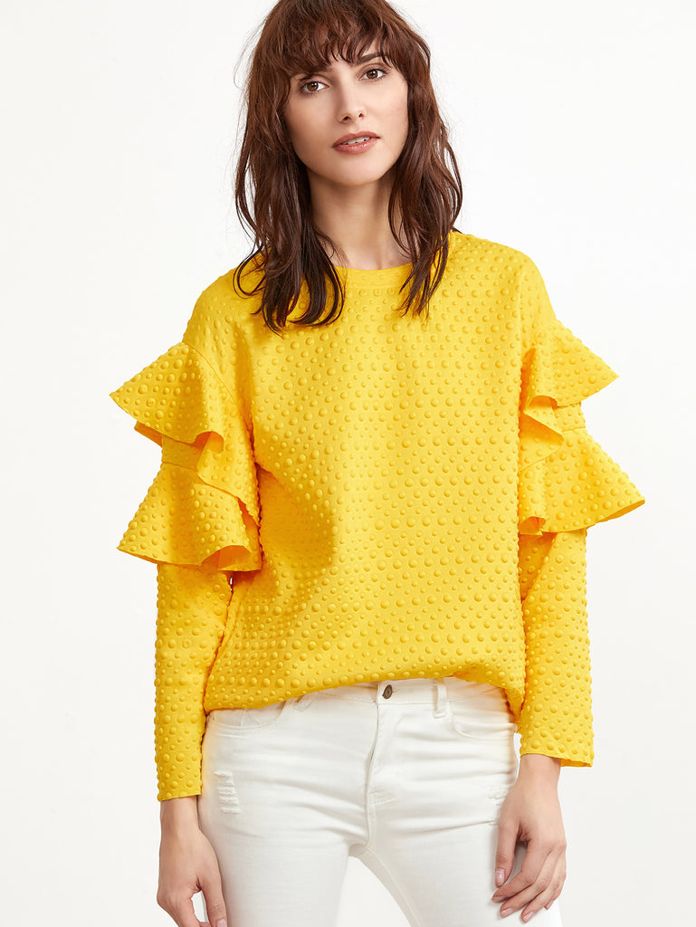 RZX Polka Dot Embossed Layered Ruffle Sleeve Blouse