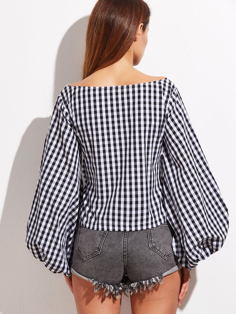 Black And White Gingham Bow Front Oversized Lantern Sleeve Top RZX