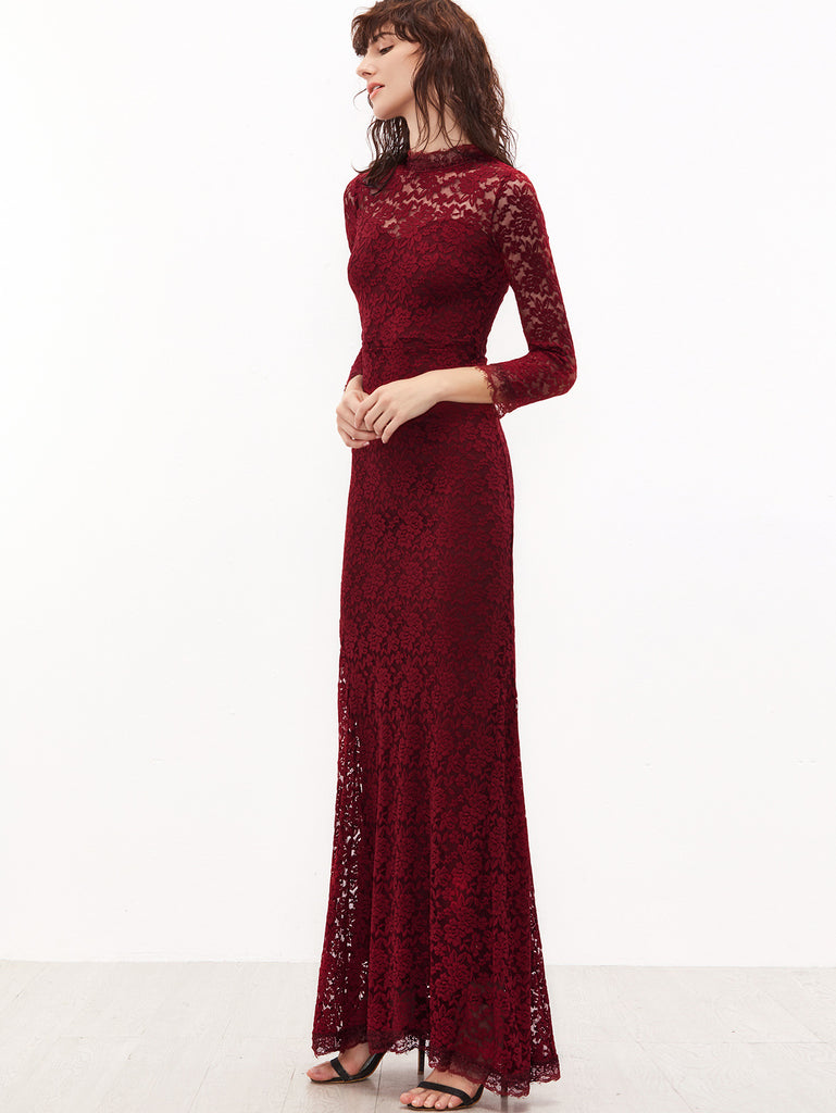 Burgundy Sheer Sleeve Floral Lace Fishtail Dress