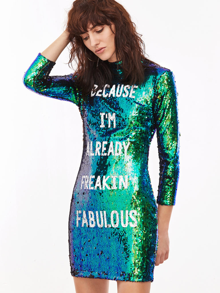 RZX Green Sequin Letter Print Bodycon Dress