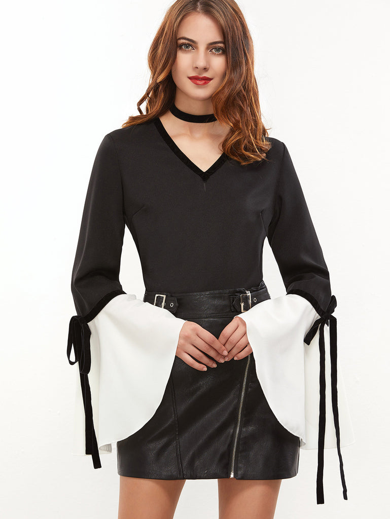 RZX Black V Neck Bow Tie Contrast Bell Cuff Top