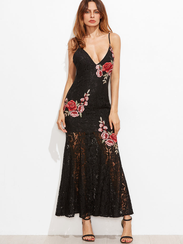 RZX Black Embroidered Rose Applique Lace Overlay Fishtail Cami Dress