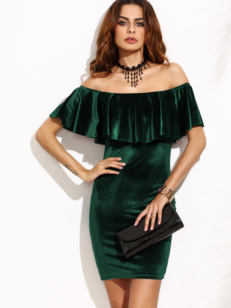 RZX Green Ruffle Off The Shoulder Velvet Bodycon Dress