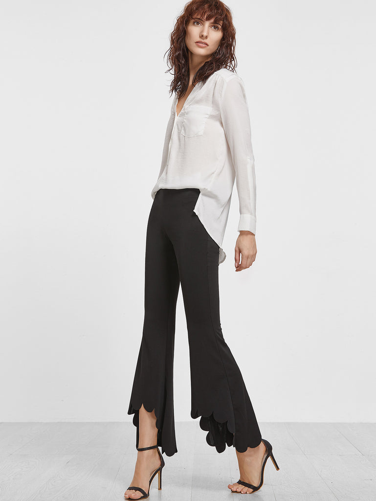 RZX  Black Scallop Hem Crop Flared Pants