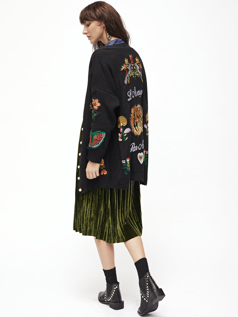 RZX Black Embroidery Ribbed Drop Shoulder Sweater Coat With Button
