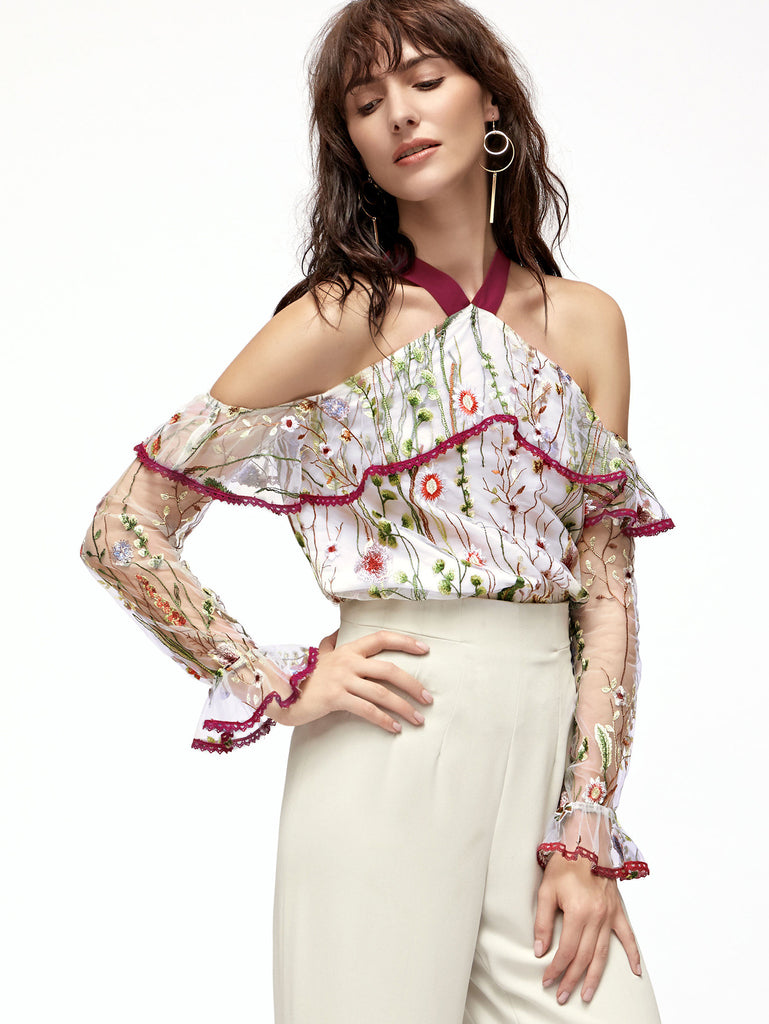 White Halter Cold Shoulder Embroidered Mesh Ruffle Top RZX