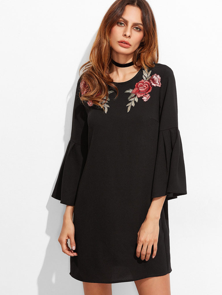 Black Embroidered Rose Applique Bell Sleeve Tunic Dress RZX