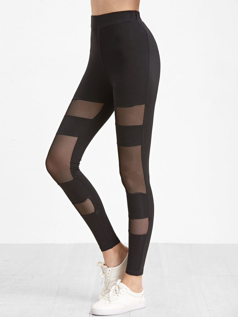 Black Mesh Insert Leggings