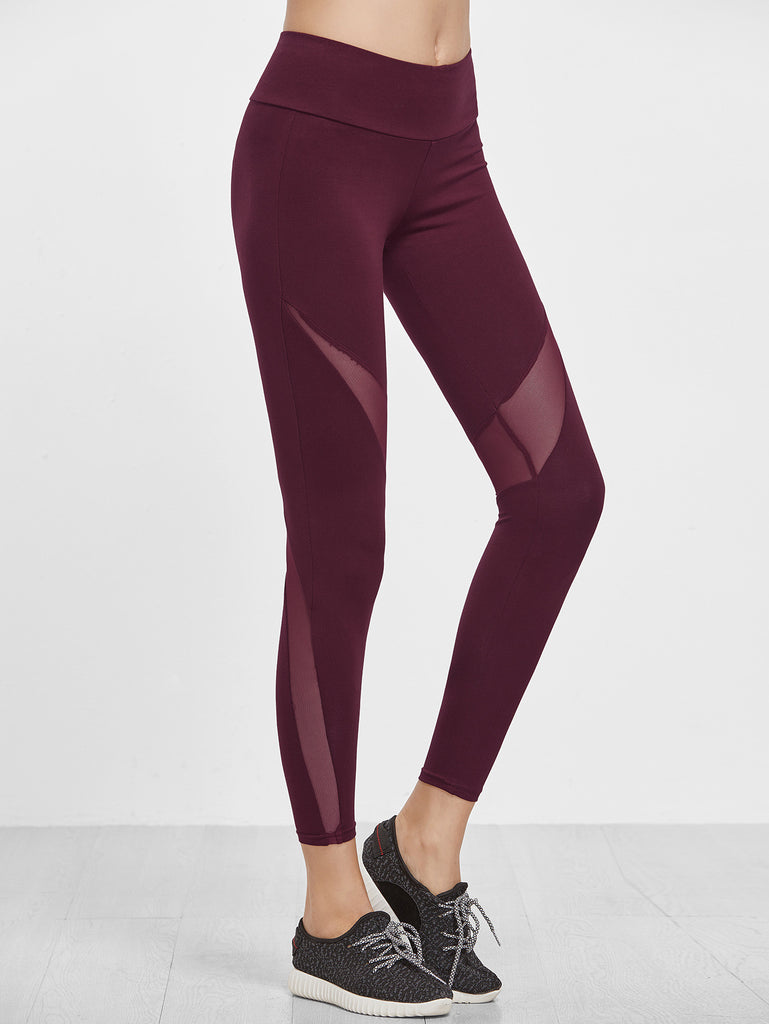 RZX  Burgundy Wide Waistband Mesh Insert Leggings