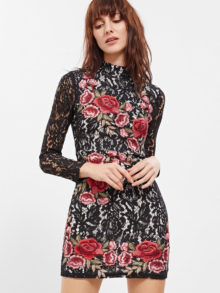 RZX Black Embroidered Rose Applique Floral Lace Bodycon Dress
