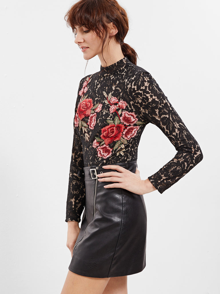 RZX Black Embroidered Rose Applique Floral Lace Bodysuit