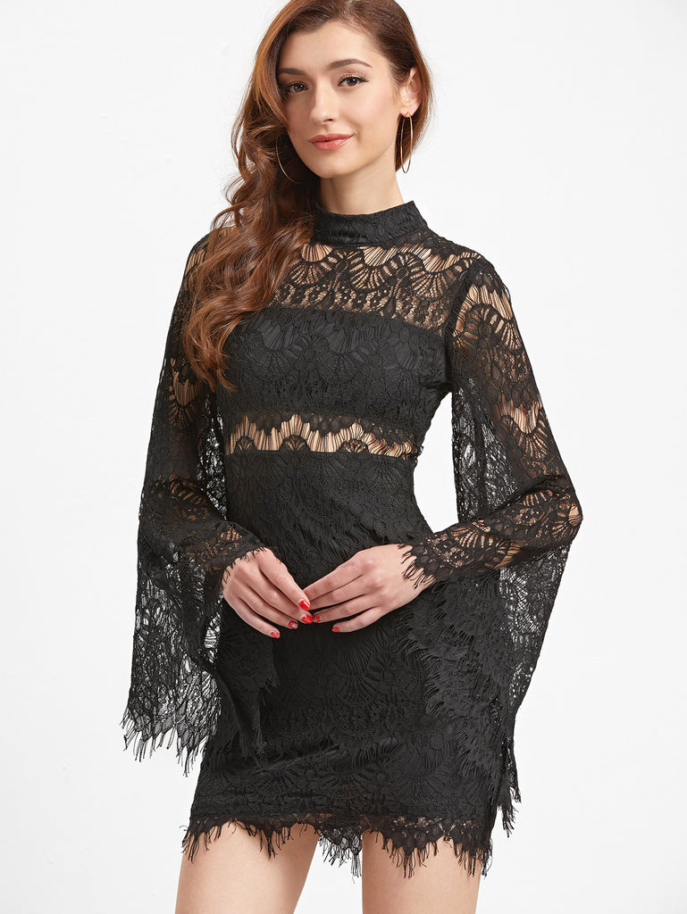 RZX Black Bell Sleeve Eyelash Lace Bodycon Dress