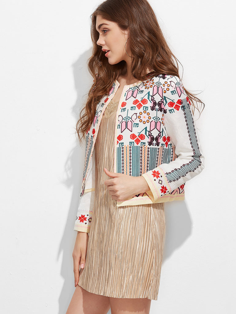 Multicolor Geometric Print Collarless Jacquard Jacket RZX