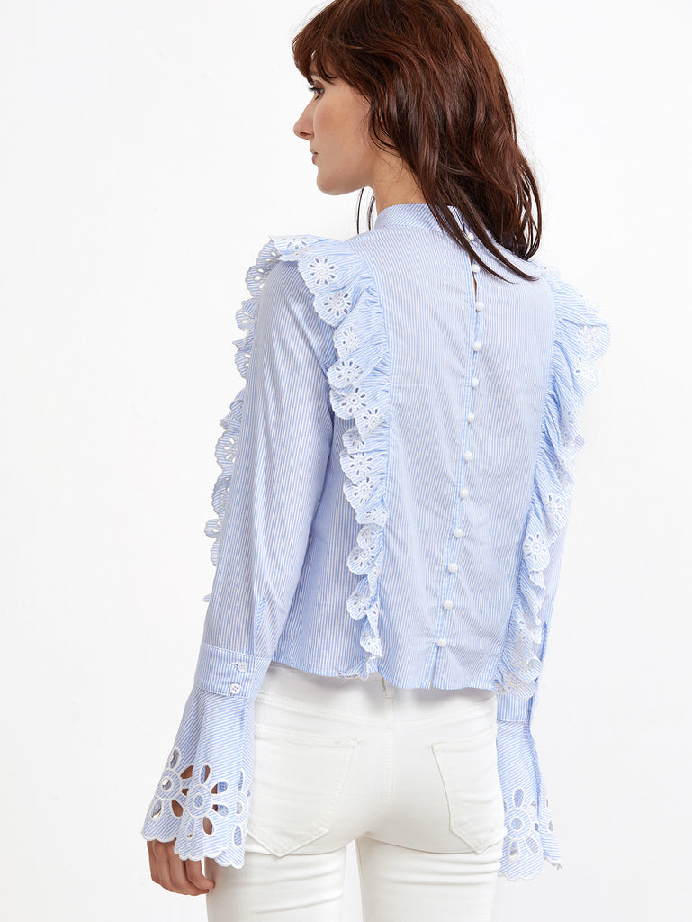 RZX  Blue And White Striped Button Back Eyelet Embroidered Ruffle Blouse