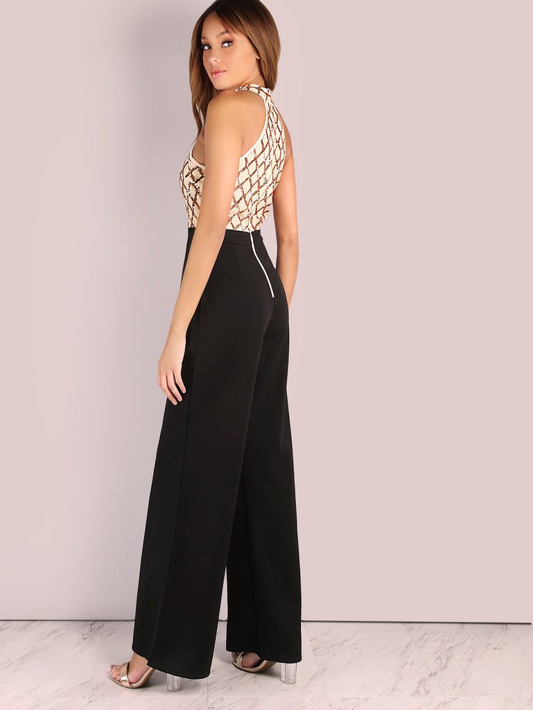 RZX Sequin Diamond Tailored Wide Leg Jumpsuit ROSE BLACK