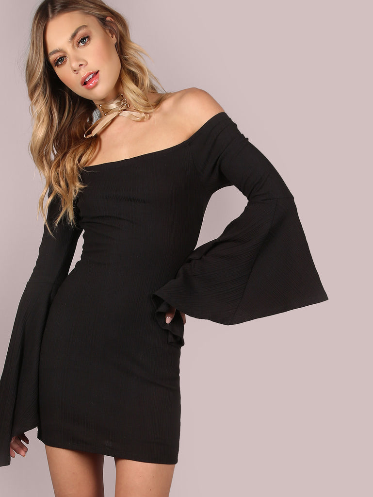 Black Oversized Bell Sleeve Off The Shoulder Bodycon Dress