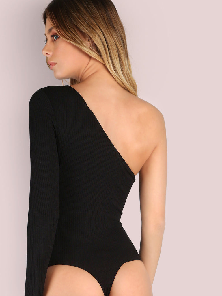 One Shoulder Rib Knit Bodysuit BLACK