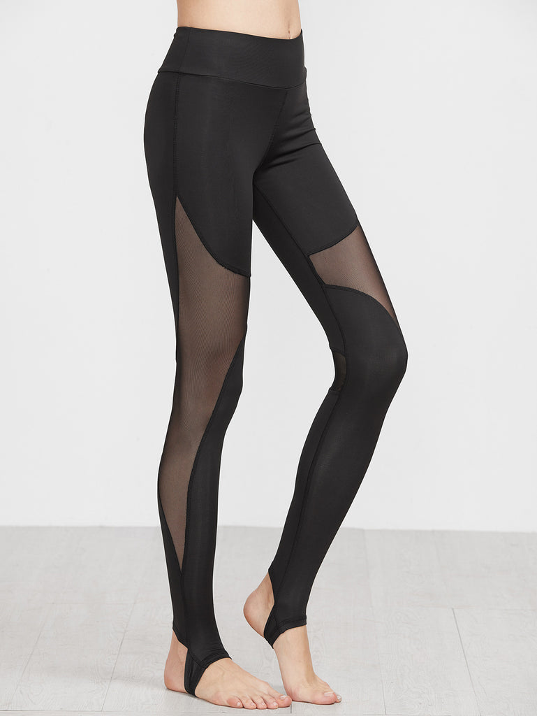 Black Contrast Sheer Mesh Stirrup Leggings
