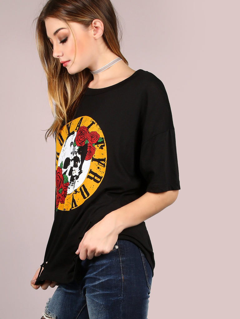 RZX Oversized Burn Out Royalty Graphic Tee BLACK