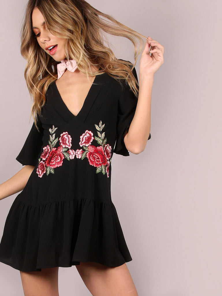 RZX Floral Patch Frill Romper BLACK
