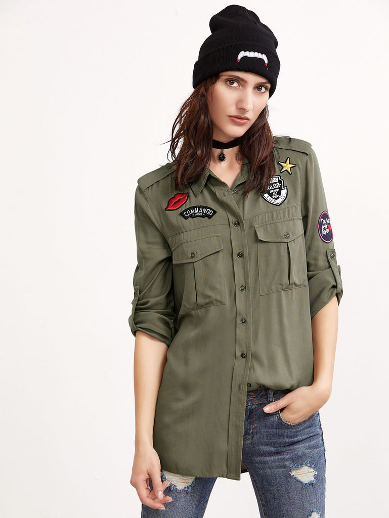 Olive Green Epaulet Shoulder Equipment Blouse With Patch RZX