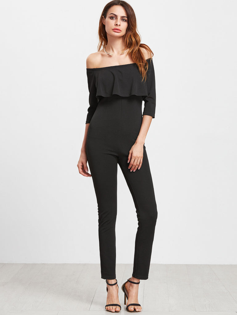 RZX Black Off The Shoulder Ruffle Skinny Jumpsuit