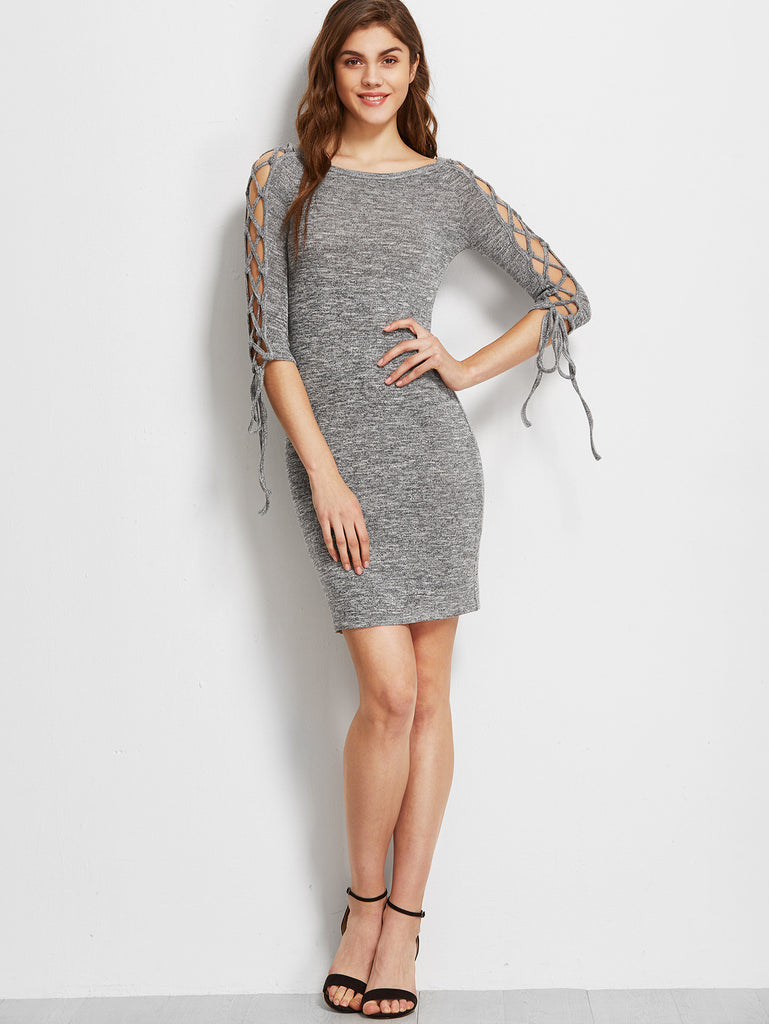 RZX Grey Marled Boat Neck Lace Up Raglan Sleeve Bodycon Dress