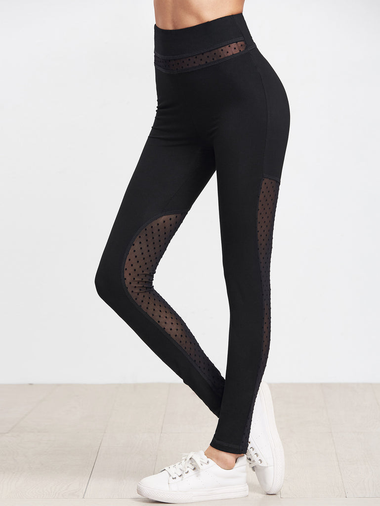 RZX  Black Dotted Mesh Panel Leggings