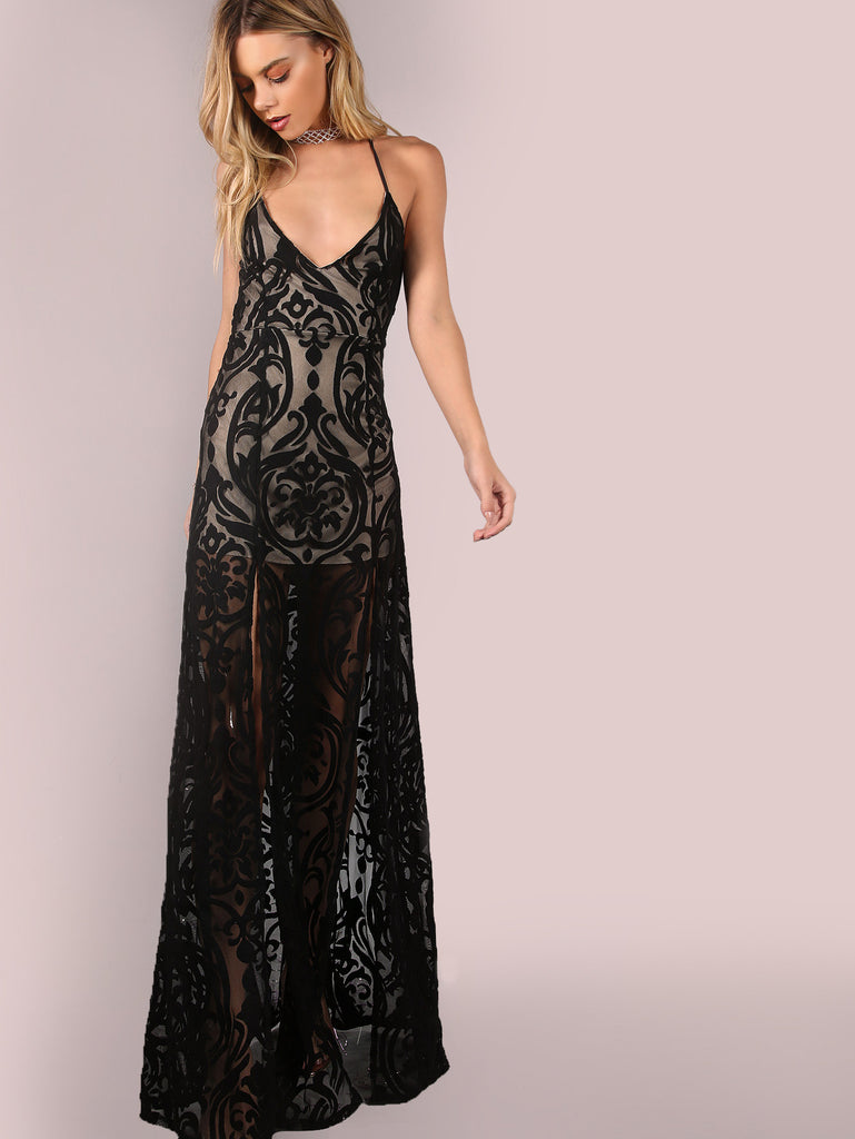 RZX Backless Mesh Filigree Applique Maxi Dress BLACK