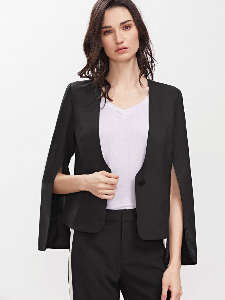 Black Split Sleeve Collarless One Button Blazer RZX