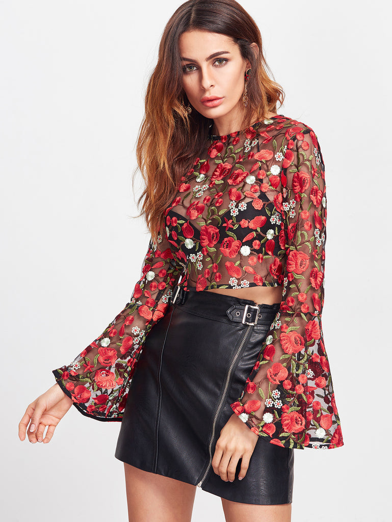 RZX Red Bell Sleeve Flower Embroidered Mesh Top