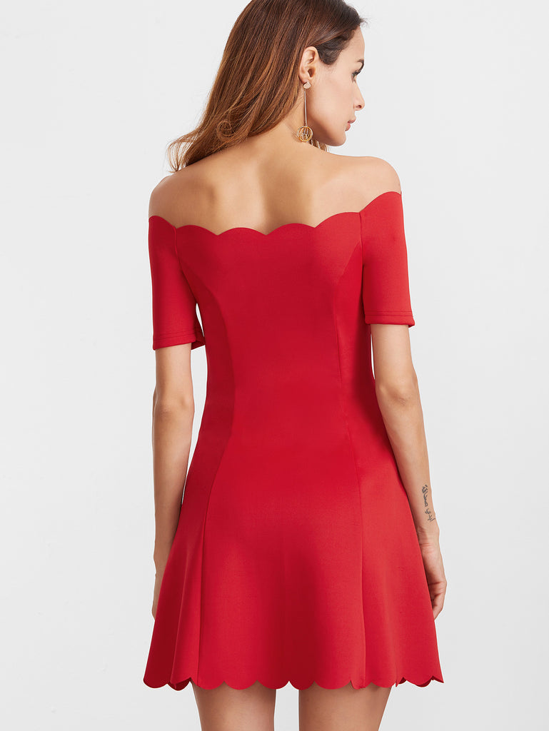 Red Scallop Edge Off The Shoulder Dress