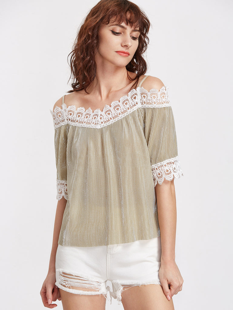 RZX Champagne Contrast Lace Trim Pleated Cold Shoulder Top