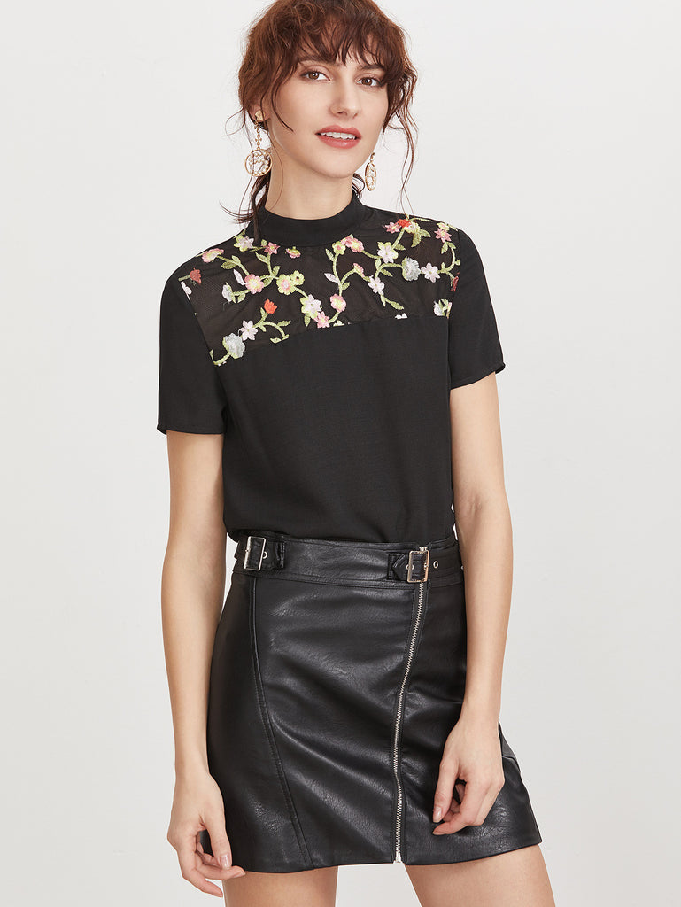 Black Flower Embroidered Yoke Tie Back Short Sleeve Top
