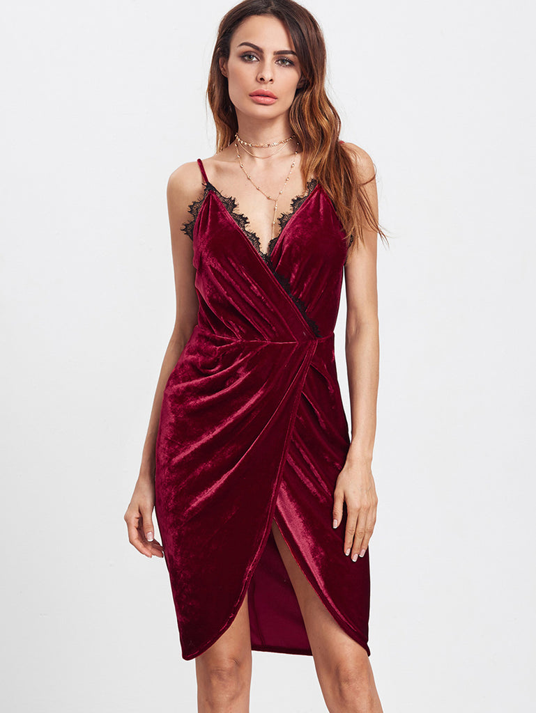 Burgundy Lace Trim Surplice Front Velvet Cami Dress