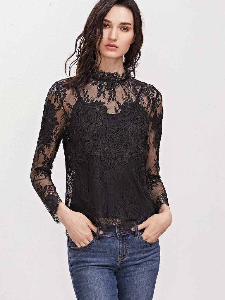 RZX Black Embroidered Flower Applique Sheer Lace Top With Cami