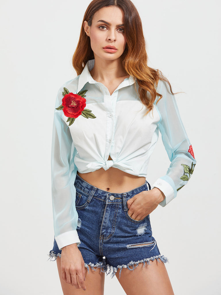 RZX White Embroidered Rose Applique Contrast Organza Sleeve Blouse
