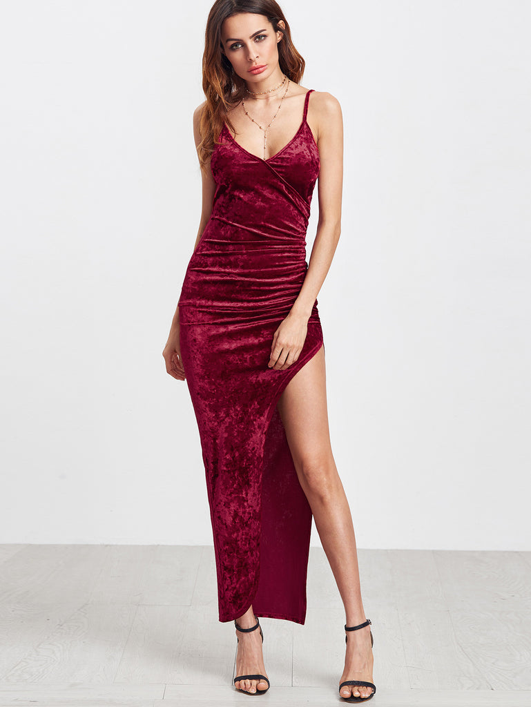 Burgundy Surplice Front Ruched High Slit Velvet Cami Dress RZX