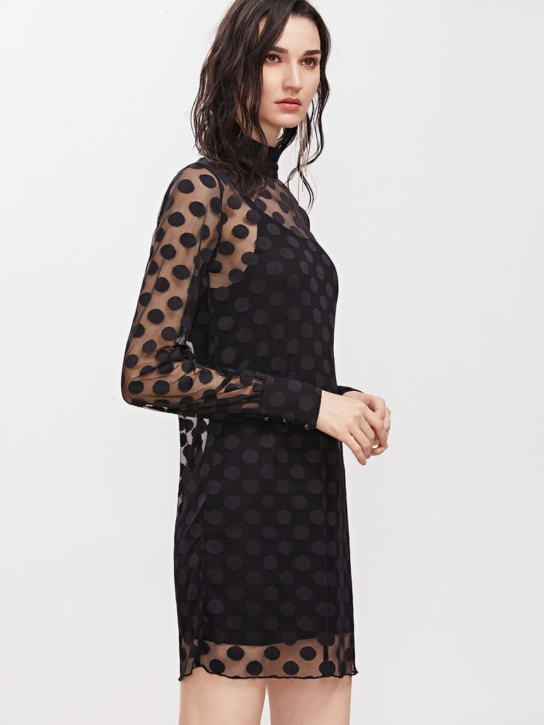 Black Cuffed Sleeve Polka Dot Mesh Dress With Cami Dress