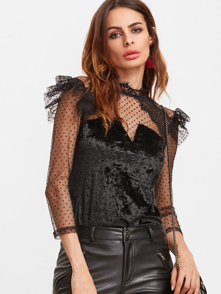 Black Ruffle Trim Dotted Mesh Shoulder Velvet Top RZX