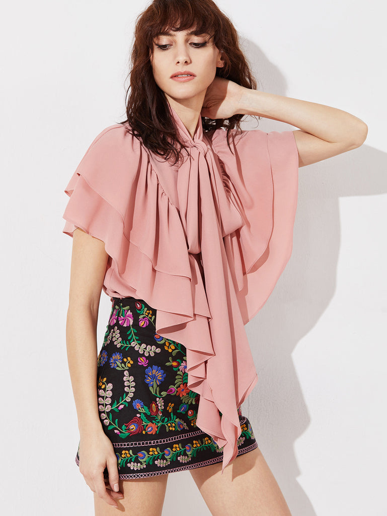 RZX  Pink Tie Neck Frilled Layered Cape Top