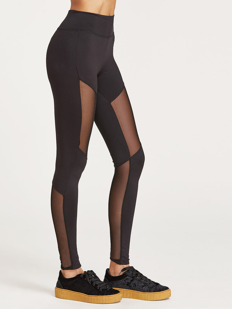 RZX Black Wide Waistband Mesh Insert Leggings
