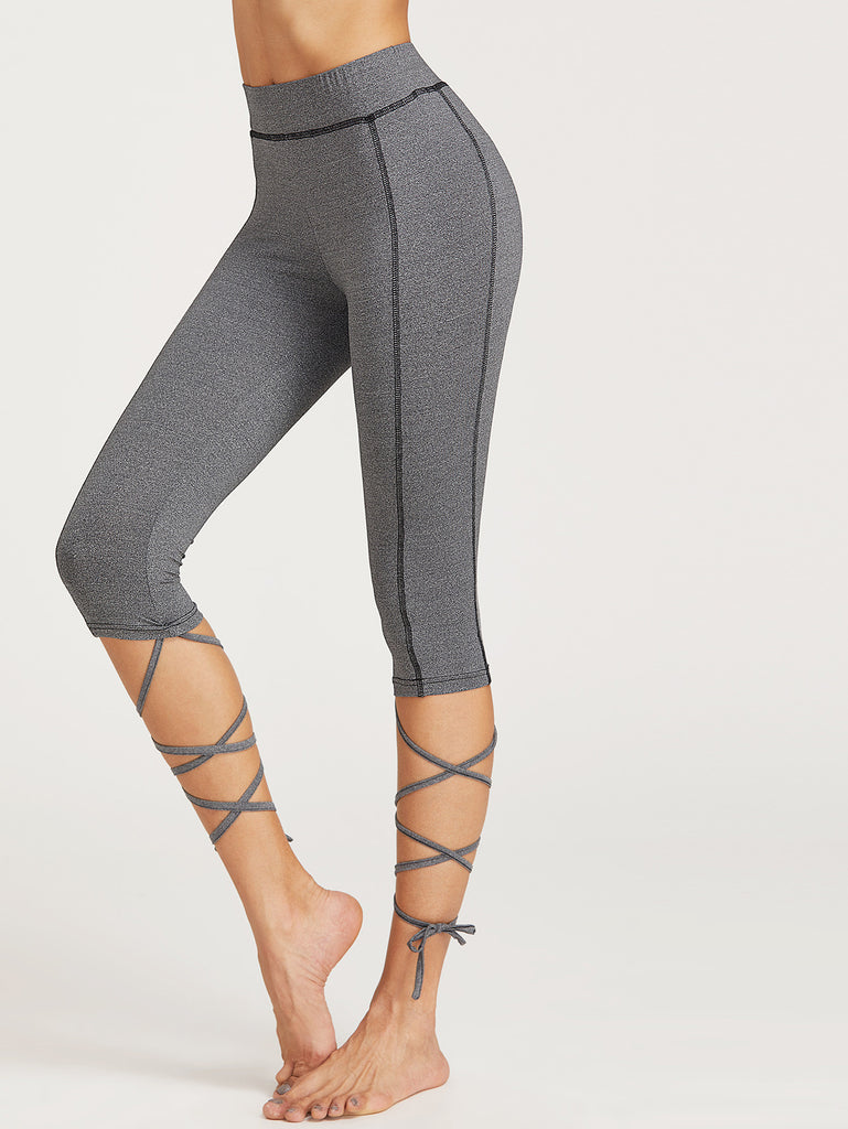 Heather Grey Topstitch Tie Hem Capris