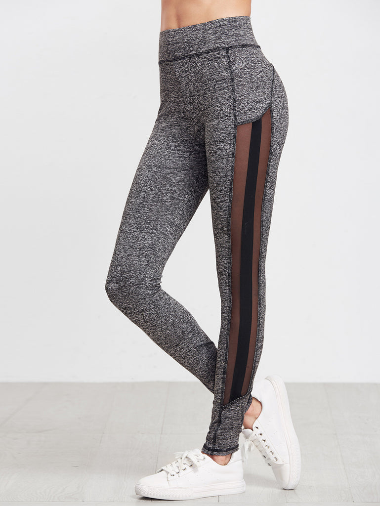 Grey Marled Knit Mesh Panel Leggings RZX