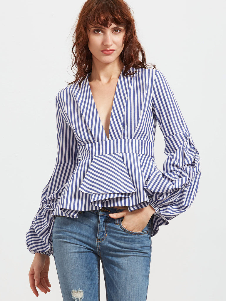RZX Blue Striped Deep V Neck Lantern Sleeve Box Pleated Peplum Top