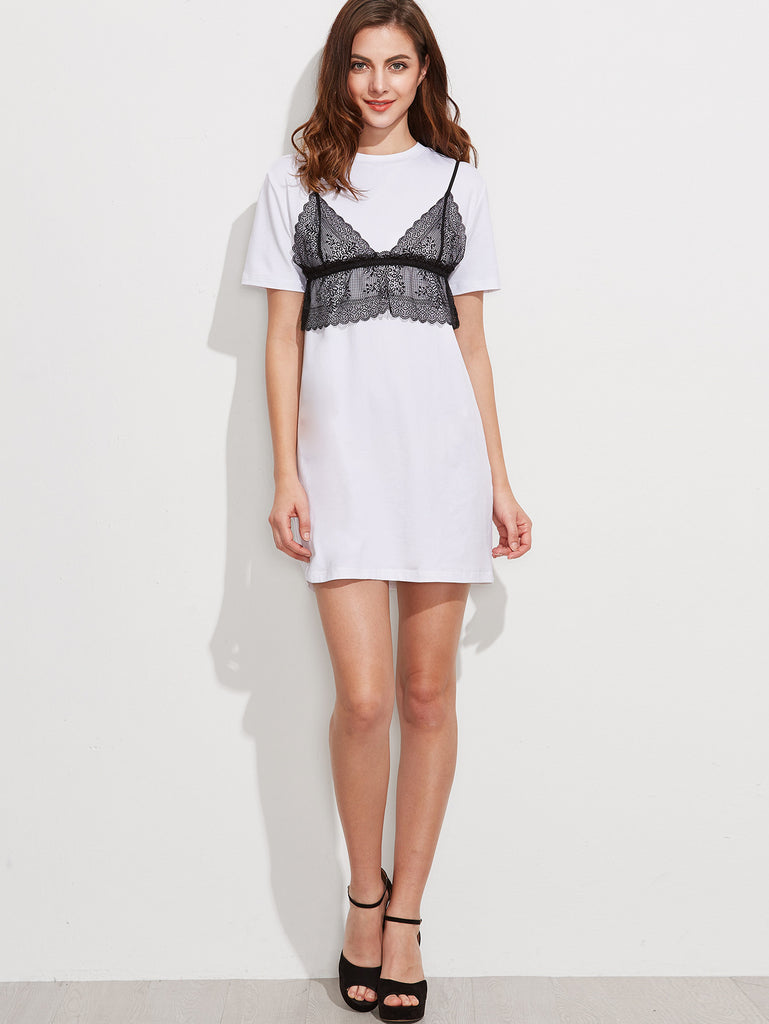 RZX White Short Sleeve Tee Dress With Contrast Lace Cami Top
