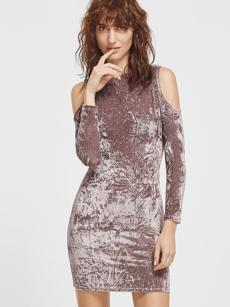 RZX  Coffee Cold Shoulder Crushed Velvet Bodycon Dress